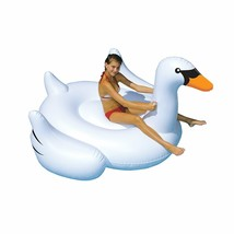 Swimming Pool Inflatable Giant Swan Ride-On Lounging 75-inch Fits 2 BRAN... - $33.31