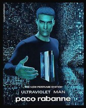 Ultraviolet Man Perfume AD 2001 Paco Rabanne French Text  Advertising Art - $14.99