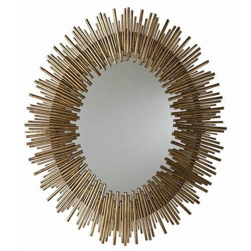 ANTIQUED GOLD OVAL IRON MIRROR, 40 H x 34 W, MID CENTURY MODERN, Hollywood GLAM!