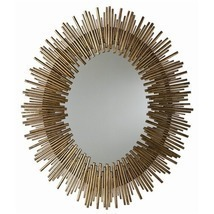 ANTIQUED GOLD OVAL IRON MIRROR, 40 H x 34 W, MID CENTURY MODERN, Hollywo... - £788.47 GBP