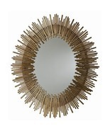 ANTIQUED GOLD OVAL IRON MIRROR, 40 H x 34 W, MID CENTURY MODERN, Hollywo... - $1,385.14 CAD