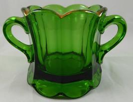 Antique  GREEN PATTERN Glass Souvenir Sugar Bowl G9 - $9.89