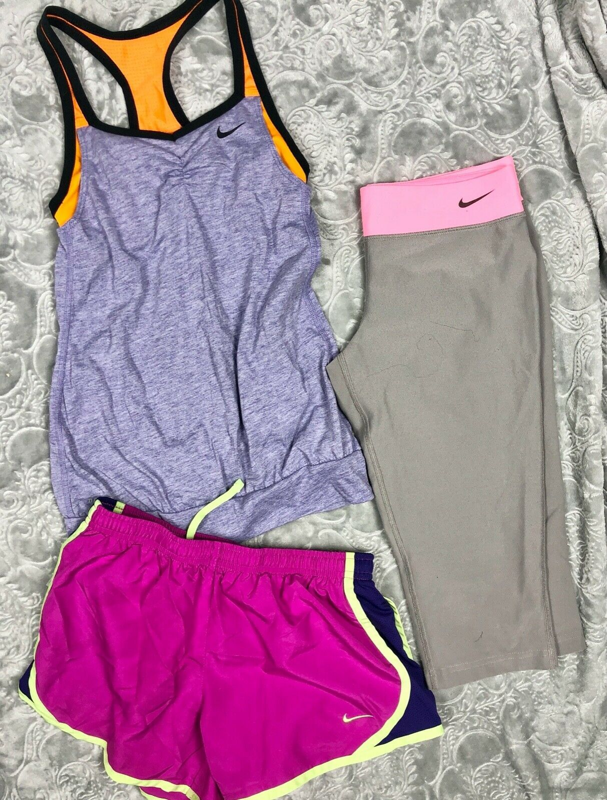 NIKE TANK TOP + TEMPO RUNNING SHORTS + CAPRI LEGGINGS OUTFIT LOT GIRL'S M
