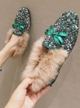 Sequin Green Ladies Wedding Ballet Flats Slippers Outdoor Cotton-Padded Shoes - £39.12 GBP