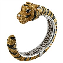 Zirconia Studded Tiger Sterling Silver Cuff Bangle - $1,058.00
