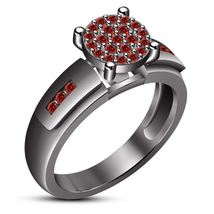 Solitaire With Accents Ring Red Garnet 10k Black Gold Finish 925 Sterlin... - £54.19 GBP
