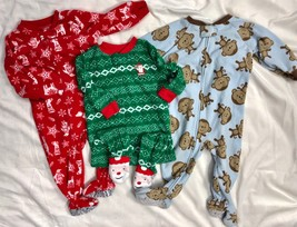 Carter's Fleece Pajamas Christmas Santa Penguins Boys 12M One Piece Zipper - $25.74
