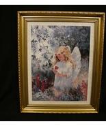 Dodie Knight Signed , Framed Print Garden Angel  - $40.00