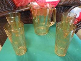 Beautiful CARNIVAL Glass MARIGOLD Iridescent..PITCHER & 4 GLASSES - $26.05