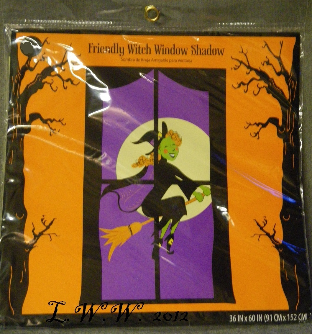 Halloween Friendly Witch Window Shadow Decoration 36 by 60 inches big