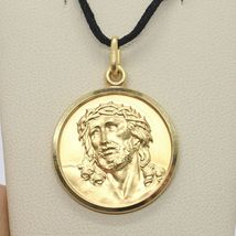 18K YELLOW GOLD ECCE HOMO, JESUS CHRIST FACE MEDAL DETAILED MADE IN ITALY, 17 MM image 4