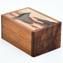 Northwoods Wooden Parquetry Nautical Ocean Marine Whale Tail Mini Trinket Box image 3
