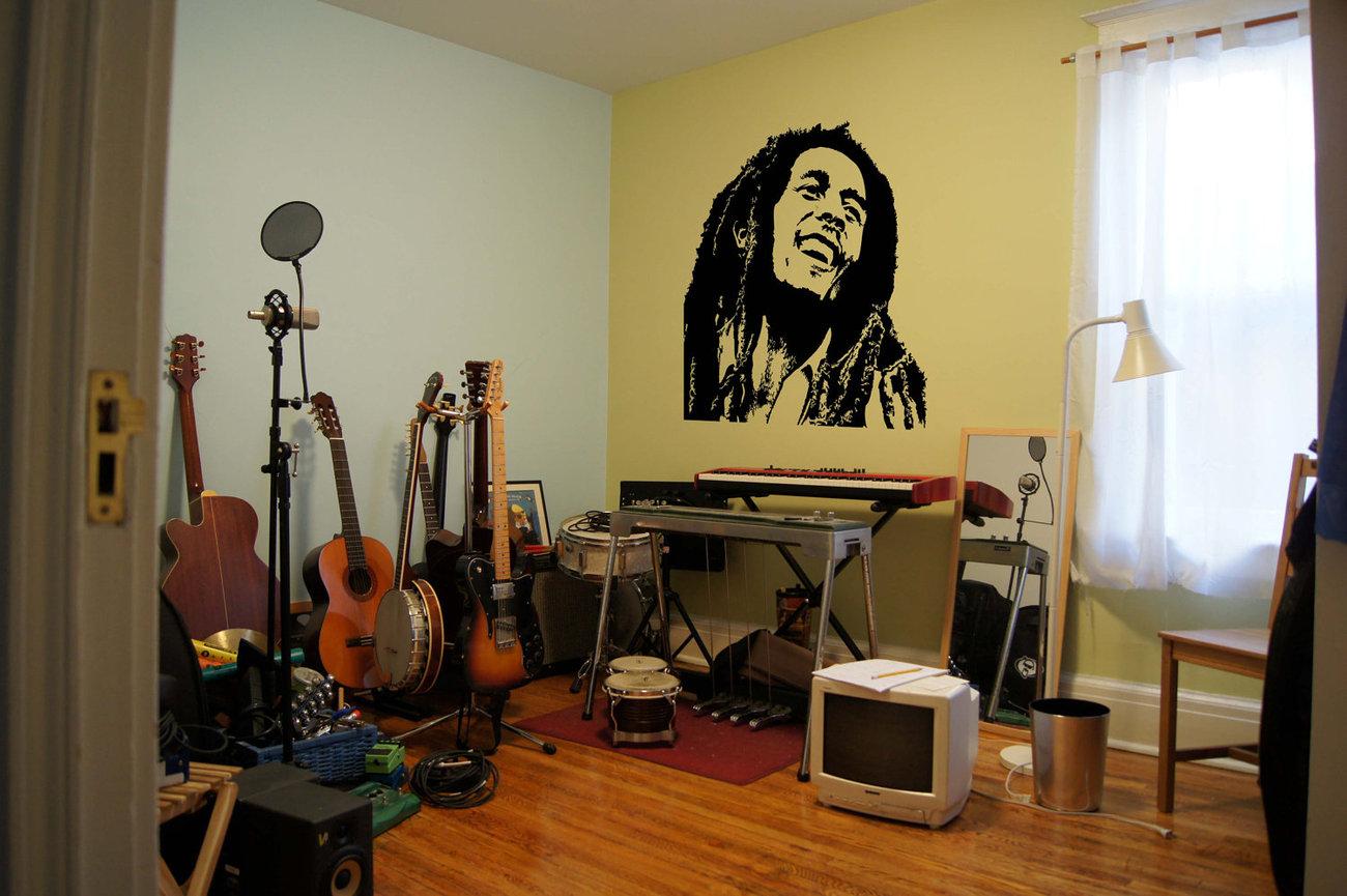 """Bob Marley Reggae Music Vinyl Wall Sticker Decal  44""""h x 44""""w"""