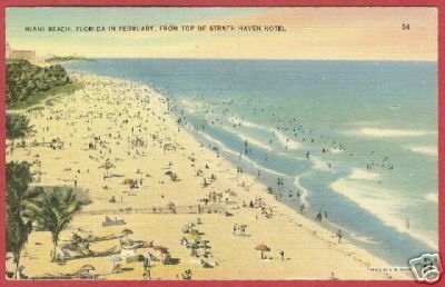 Miami Beach FL Beach fr Strath Haven Linen Postcard BJs