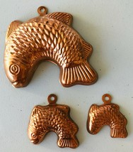 3 Mini Copper Tin Fish Molds Chocolate Dollhouse Kitchen Decor Ornaments - $19.34
