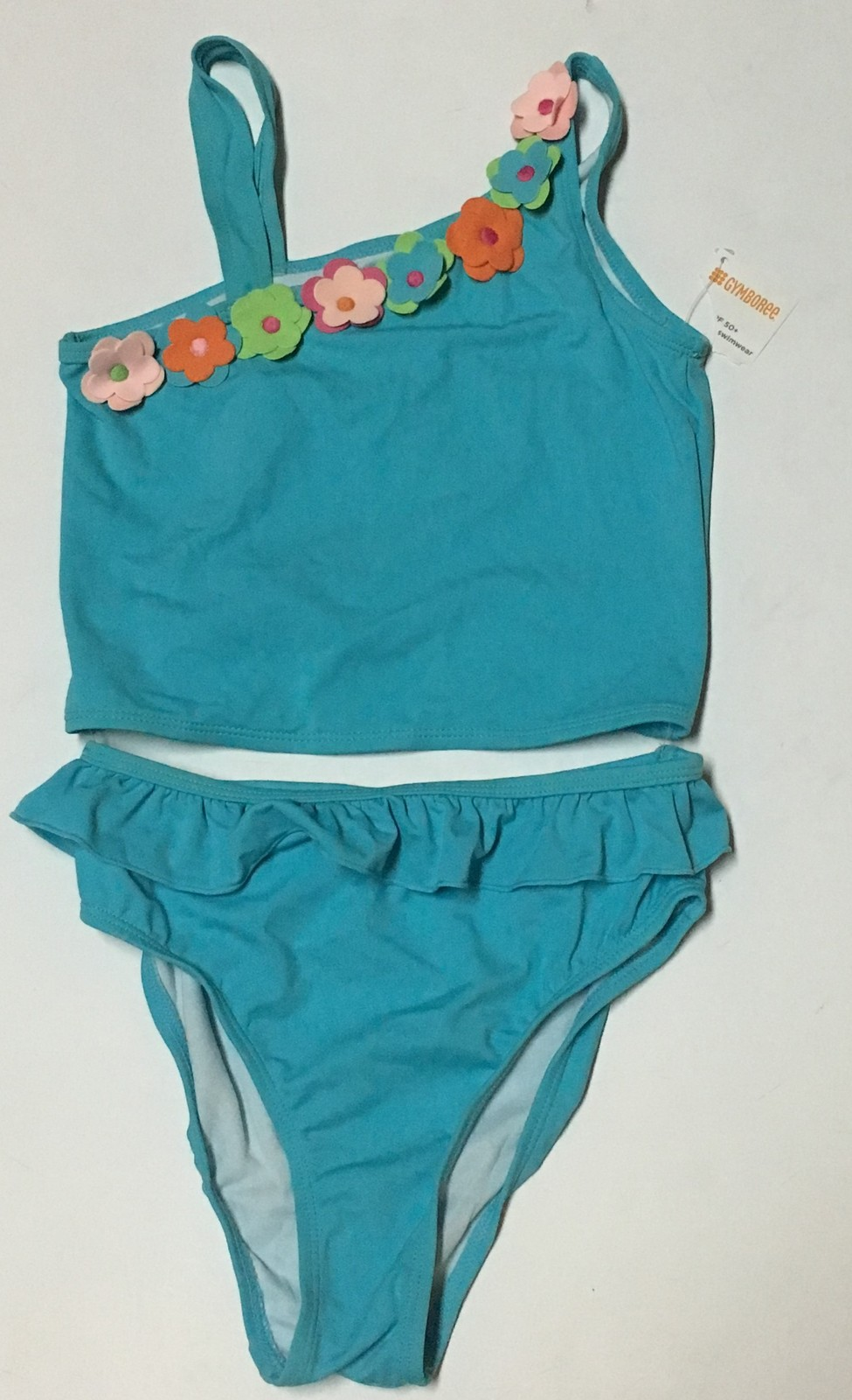 Youth Two Piece Swimwear Swimsuit Sz 12 Blue Floral SPF 50+ image 2