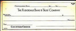 Ridgedale Bank & Trust Counter Check Chattanooga Tennessee - $6.04