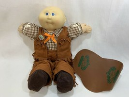 Vtg 1985 Coleco Cabbage Patch Kids Baby Doll Bald w/Western Outfit Saddle #1 HM - $29.69