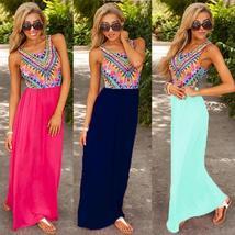 New Ladies Summer Long Maxi Evening Party Dress Beach Dresses Sundress Uk 6 20 - $15.00