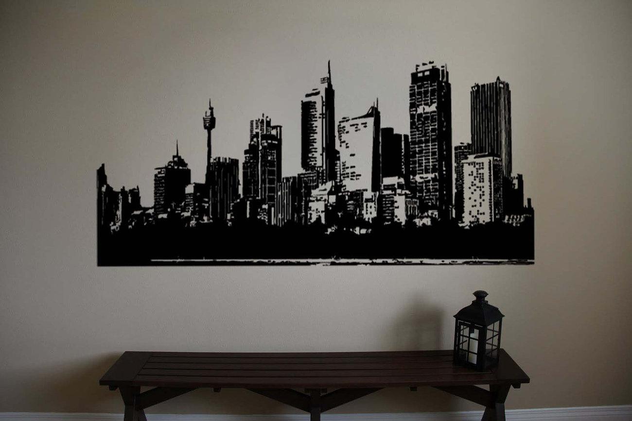 Large SYDNEY Australia Skyline Vinyl Wall Sticker Decal 21 h x 60 w