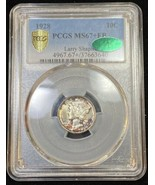 1928 10C Mercury Dime PCGS Green CAC MS67+FB Rainbow Toned POP 8/2 Silve... - £4,700.73 GBP