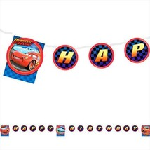 Disney World of Cars Jointed 8.5' Plastic Happy Birthday Banner 1 Count New - $2.23