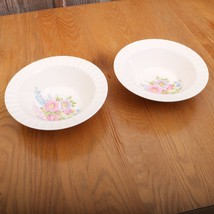 2 Vintage Edwin M. Knowles Flower Pattern Serving Bowls 40-9 Made In U.S.A. - $46.74