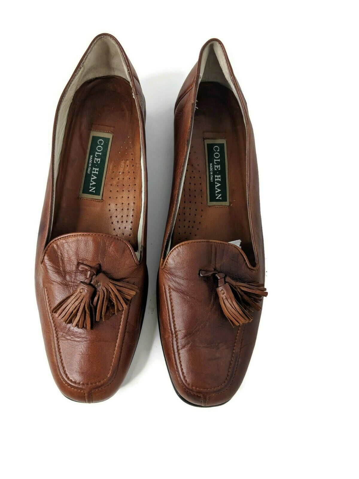 Cole Haan Womens Size 10 Brown Soft Leather Tassle Split Toe Loafers image 2