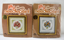 Vintage Sunset Jiffy Needlepoint Kits Lace Nosegay 1-Blue 2-Green Starte... - $23.70