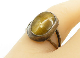 MEXICO 925 Silver - Vintage Tiger's Eye Split Shank Cocktail Ring Sz 7 -... - $25.16