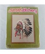 Sunset Stitchery Indian Chief # 2220 1977 Eileen Violet Design Kit 16`` ... - $24.57
