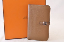 HERMES Dogon GM purse Brown Taurillon Clemence Auth 7488 - $820.00