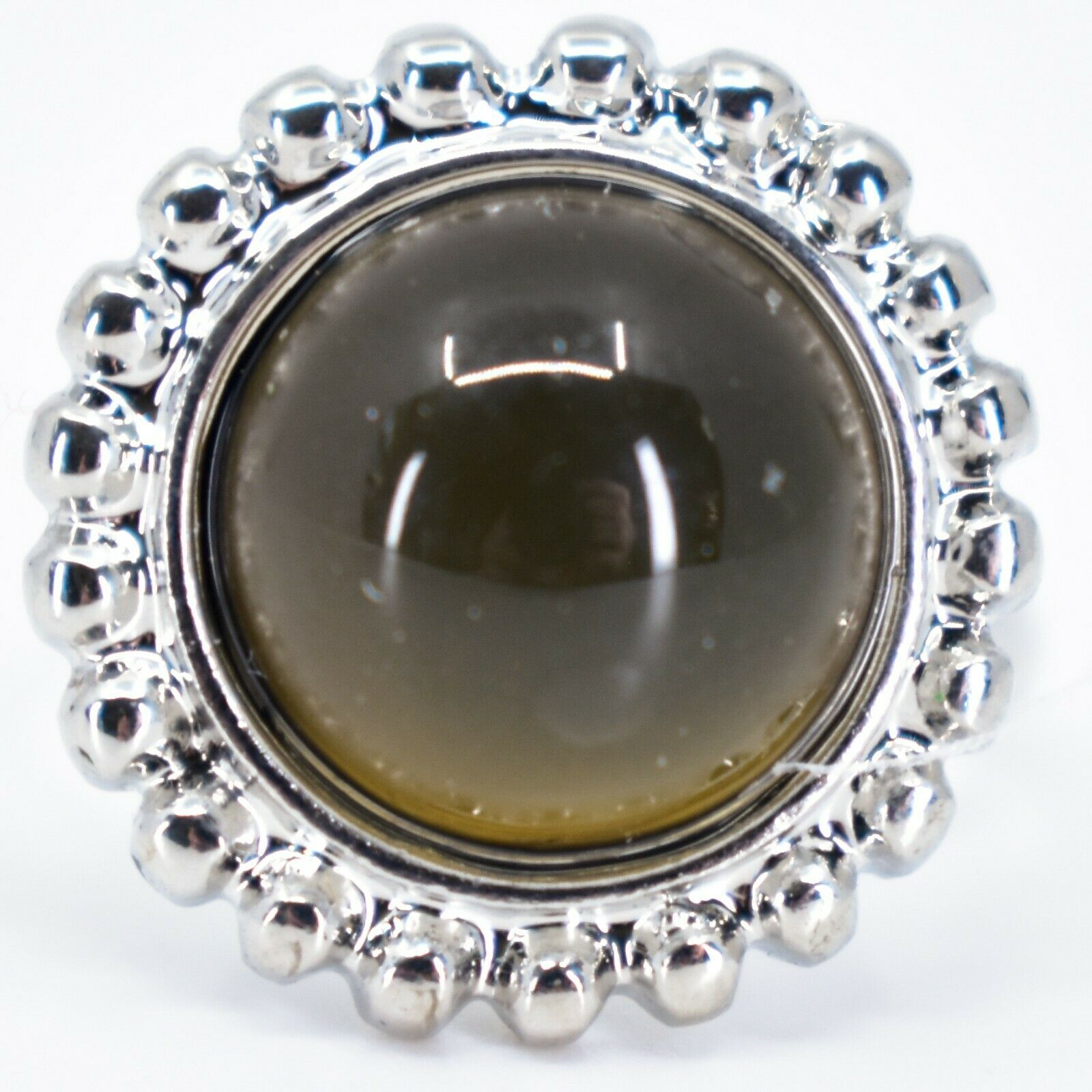 Beaded Edge Silver Tone Round Cabochon Color Changing Adjustable Mood Ring