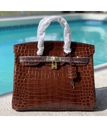 35cm Brown Crocodile Embossed Print Italian Leather Birkin Style Satchel... - $188.05