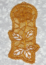 Yellow Hibiscus Machine emboridered lace bookmark - $3.50