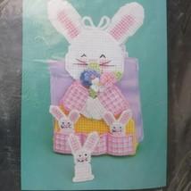 Vintage 1990 Bucilla Plastic Canvas Kit Pocket of Bunnies Easter Napkin Holder  - $24.73