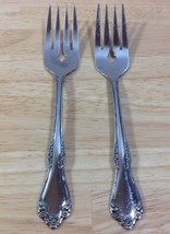 Oneida Mansfield Stainless 2 Salad Forks Wm A Rogers Deluxe Glossy 18/8 - $7.69