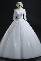 3/4 Sleeves Scoop neck Lace Appliques Ball Gown Wedding Dress - $179.99