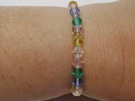 handmade multi-color crystal stretch bracelet - $11.00