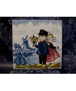 Delft Blue Dutch Holland Tile Little Boy Girl Windmill - $9.99
