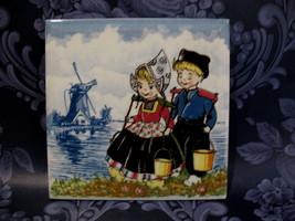 Delft Blue Dutch Holland Tile Little Boy Girl with Pails - $9.99