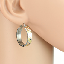 Diagonal Stripe Tri-Color Silver, Gold & Rose Hoop Earrings- United Elegance - $14.99