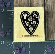 Stampin' Up! Heart With Roses Rubber Stamp 1998 Wood Mount #AA149 - $2.48