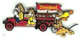 Disney Transportation Firetruck Mickey Goofy Pluto Donald Firefighters pin - $18.95