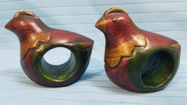 Wood Chiken Hen Rooster Napkin Holder Rings Dinning Table Decor Set of 2 - $17.99