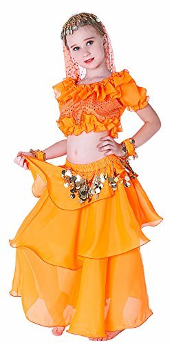 Kids Genie Costume for Girls Arab Princess Belly Dance School Outfits 4T 6 7 8 1