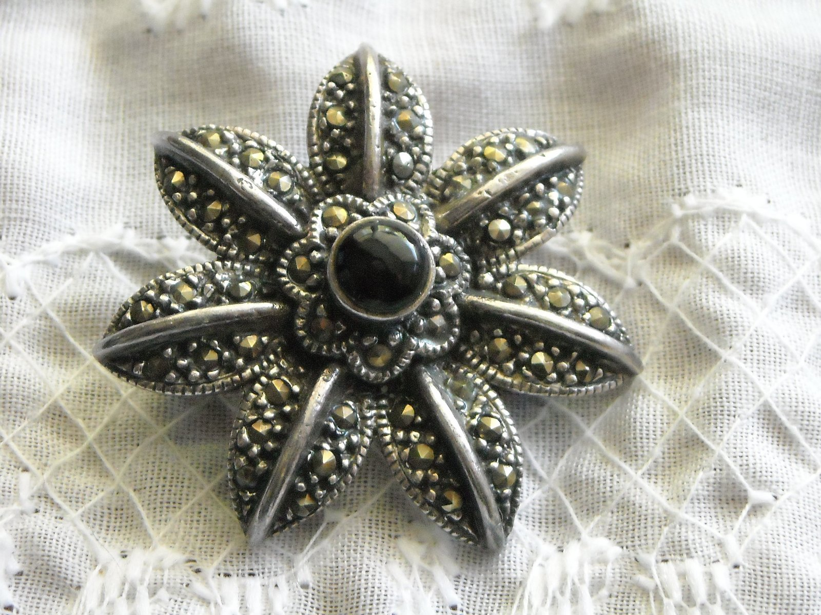 "Vintage Brooch Pin Sterling Silver Marcasite & Black Onyx 1.25"" Star Flower image 1"