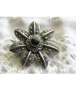 "Vintage Brooch Pin Sterling Silver Marcasite & Black Onyx 1.25"" Star Flower - $34.95"