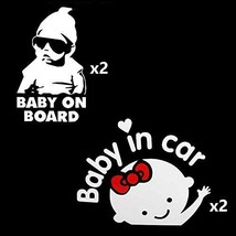 Ucreative Baby in Car Baby Safety Sign Sticker 4-Pack 2 Girl + 2 Boy - $17.27