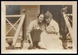 Women Cuddle Girlfriends Warm Smiles Very Pretty Front Porch August 1917... - $10.99